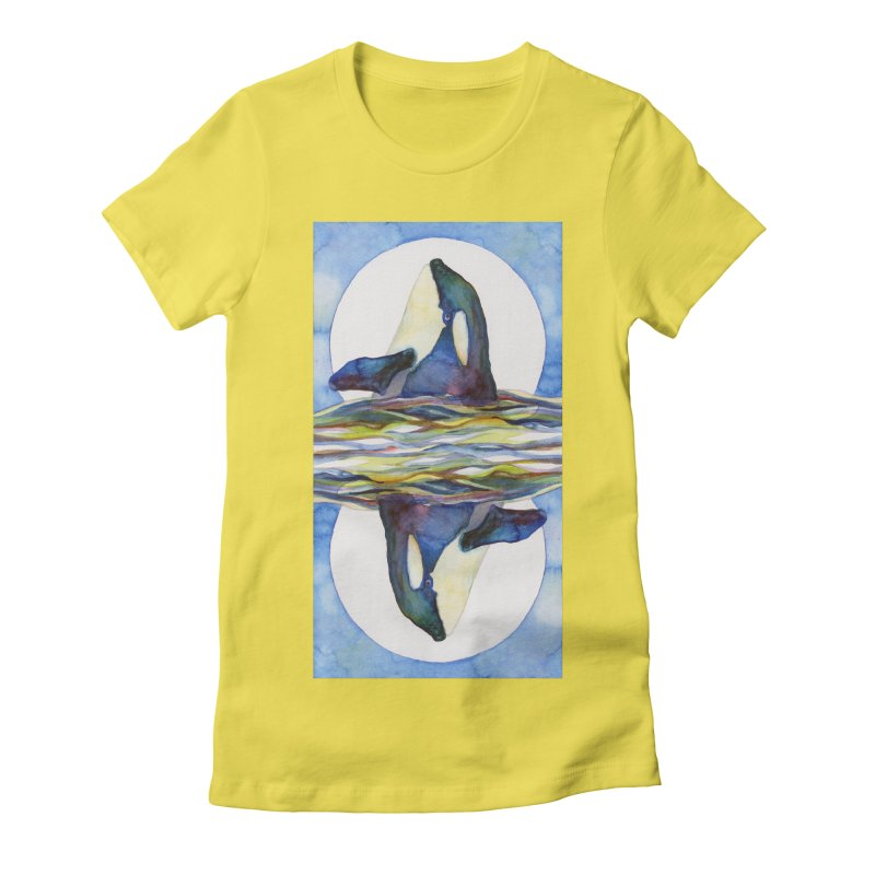 Orca in the Waves Seeing Double Women's Fitted T-Shirt by dotsofpaint threads