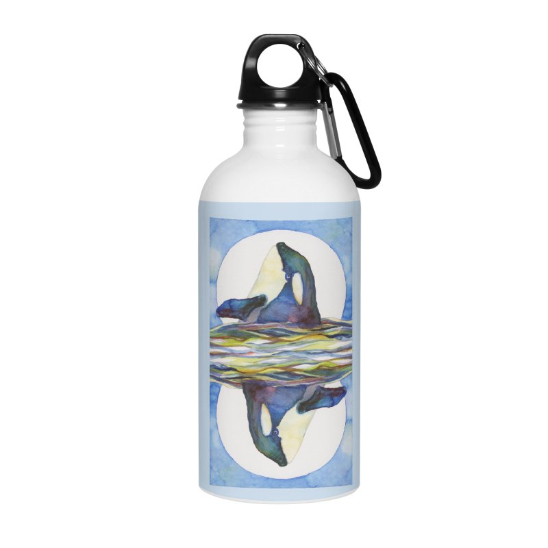 Orca in the Waves Seeing Double Accessories Water Bottle by dotsofpaint threads