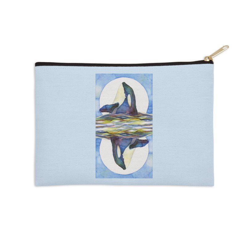 Orca in the Waves Seeing Double Accessories Zip Pouch by dotsofpaint threads