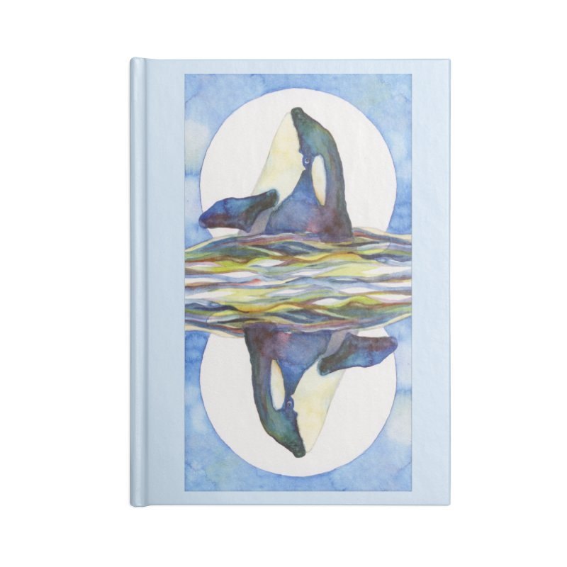 Orca in the Waves Seeing Double Accessories Lined Journal Notebook by dotsofpaint threads
