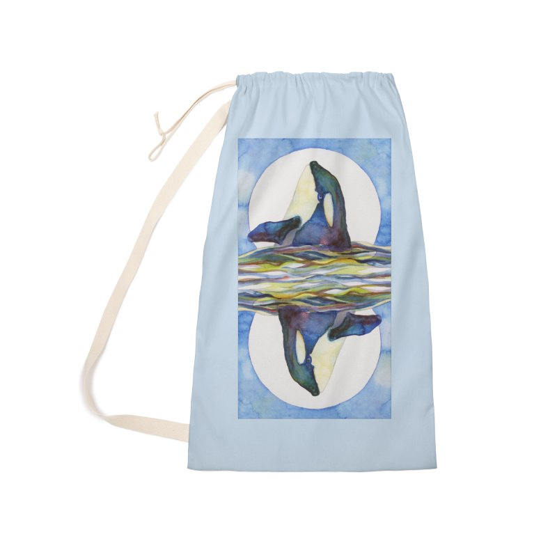Orca in the Waves Seeing Double Accessories Laundry Bag Bag by dotsofpaint threads