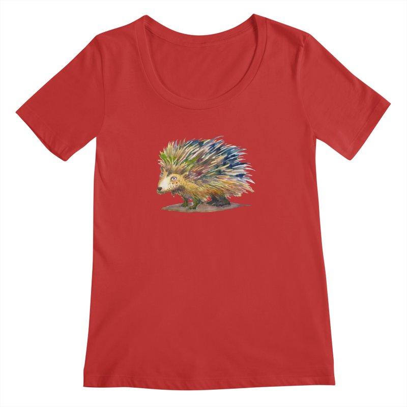 Porcupine Pete Women's Regular Scoop Neck by dotsofpaint threads