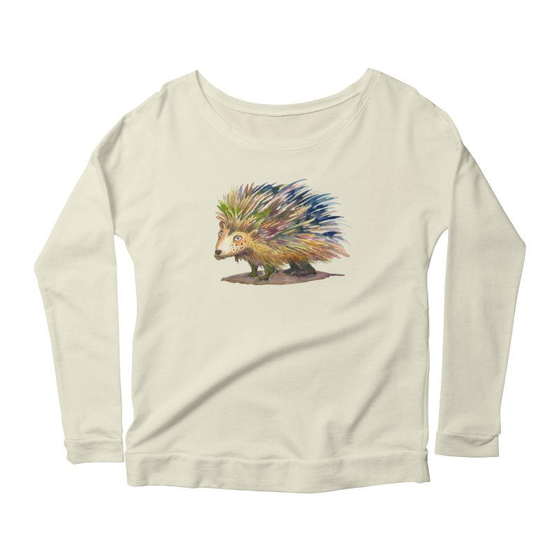 Porcupine Pete Women's Scoop Neck Longsleeve T-Shirt by dotsofpaint threads