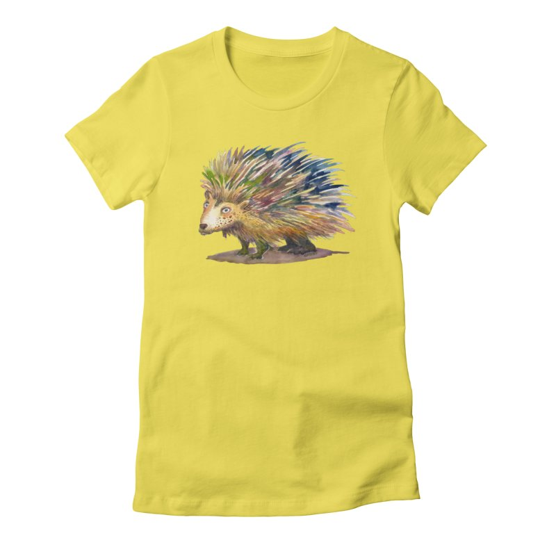 Porcupine Pete Women's Fitted T-Shirt by dotsofpaint threads