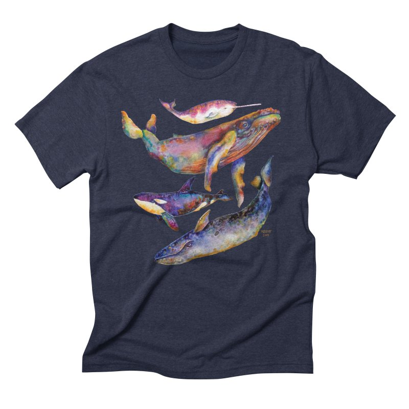 Four Whale Pyramid Men's Triblend T-Shirt by dotsofpaint threads