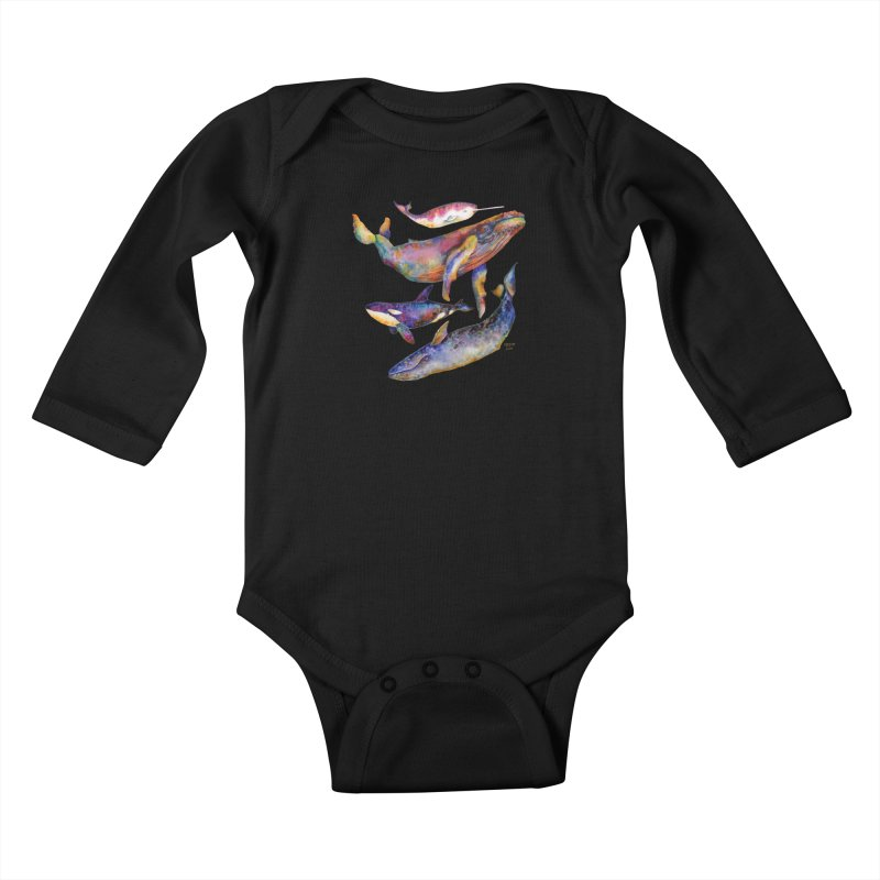 Four Whale Pyramid Kids Baby Longsleeve Bodysuit by dotsofpaint threads