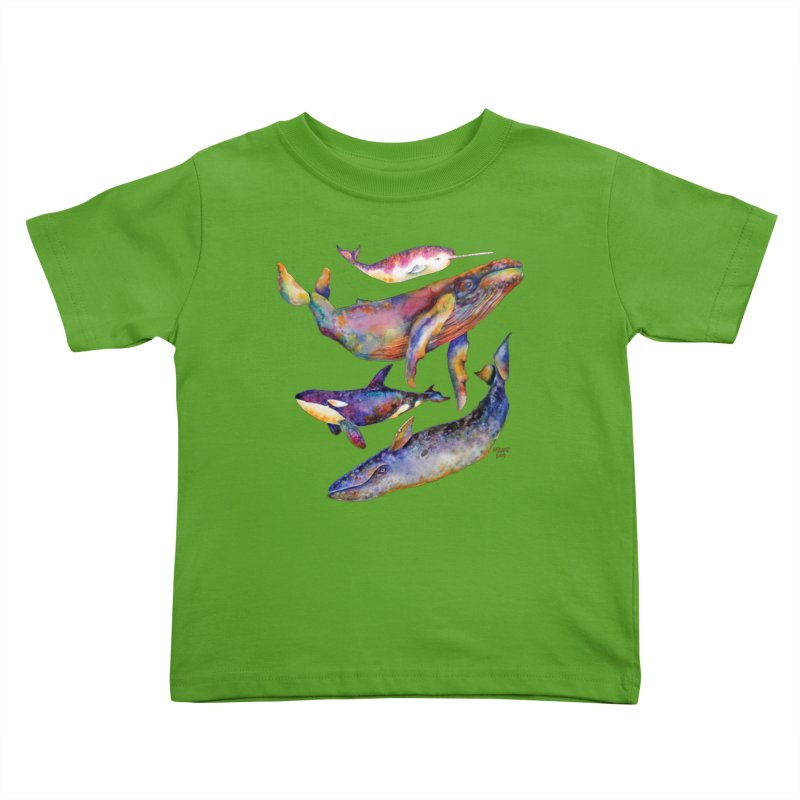 Four Whale Pyramid Kids Toddler T-Shirt by dotsofpaint threads