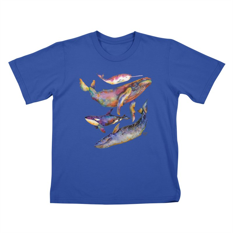 Four Whale Pyramid Kids T-Shirt by dotsofpaint threads