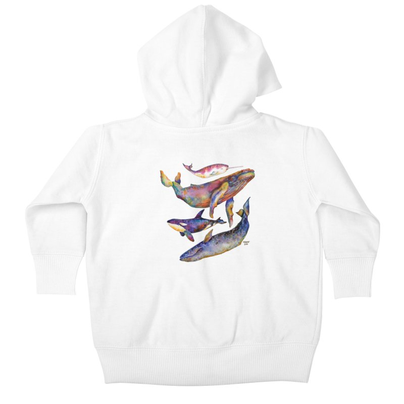 Four Whale Pyramid Kids Baby Zip-Up Hoody by dotsofpaint threads