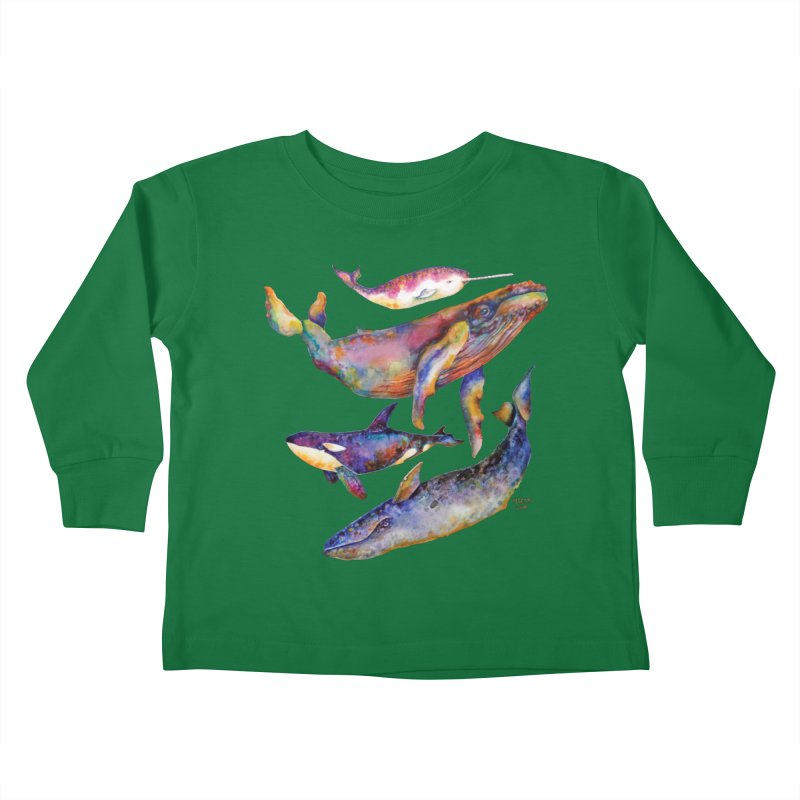 Four Whale Pyramid Kids Toddler Longsleeve T-Shirt by dotsofpaint threads