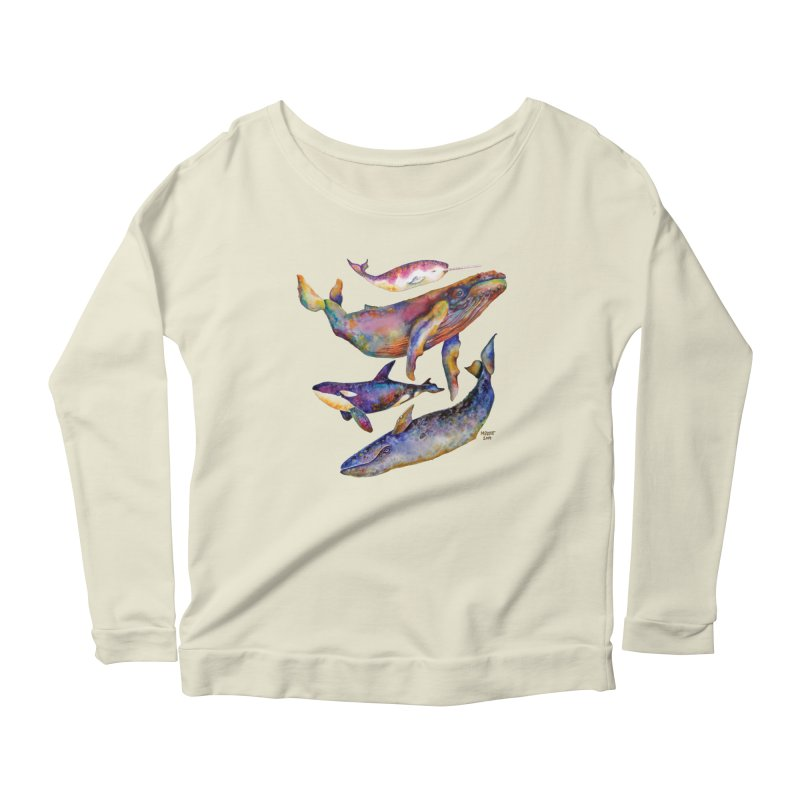Four Whale Pyramid Women's Scoop Neck Longsleeve T-Shirt by dotsofpaint threads