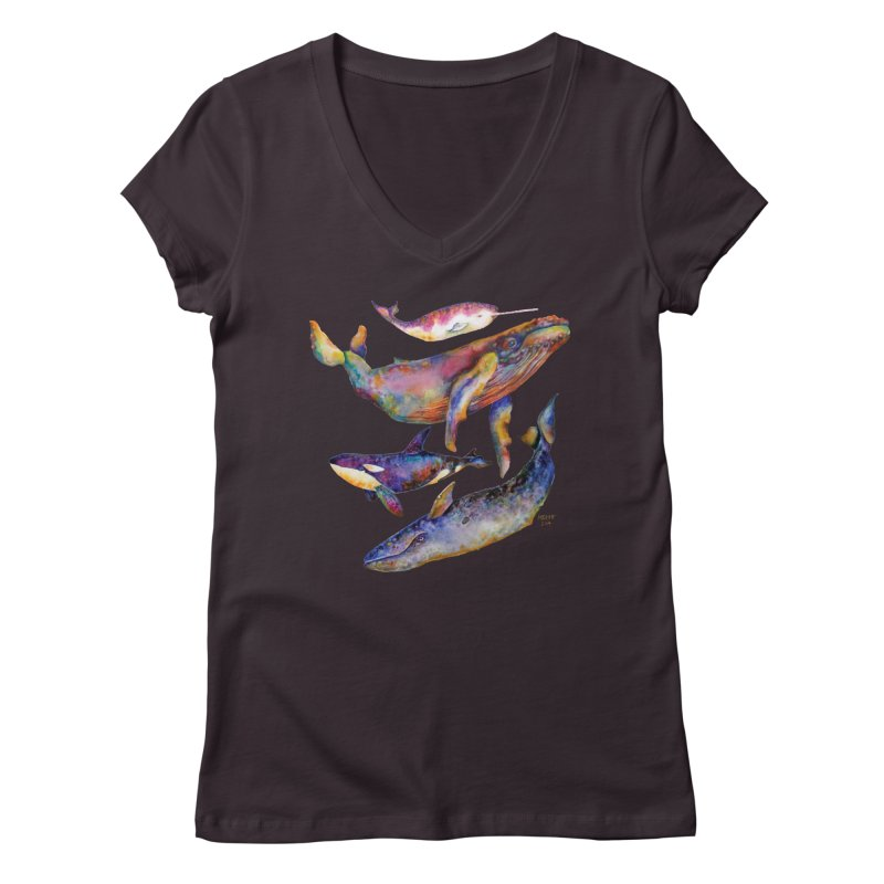 Four Whale Pyramid Women's V-Neck by dotsofpaint threads