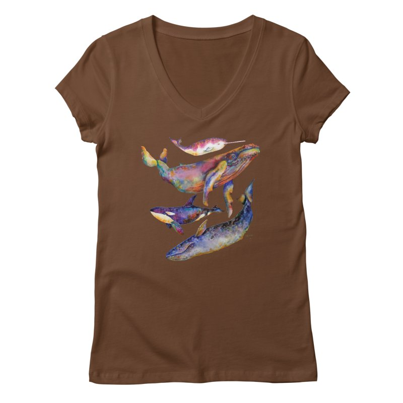 Four Whale Pyramid Women's Regular V-Neck by dotsofpaint threads