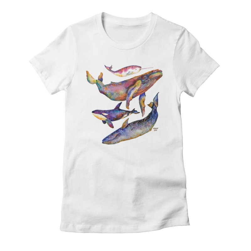 Four Whale Pyramid Women's Fitted T-Shirt by dotsofpaint threads