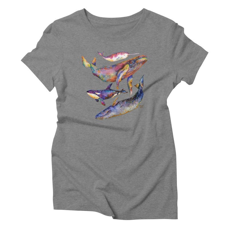 Four Whale Pyramid Women's Triblend T-Shirt by dotsofpaint threads