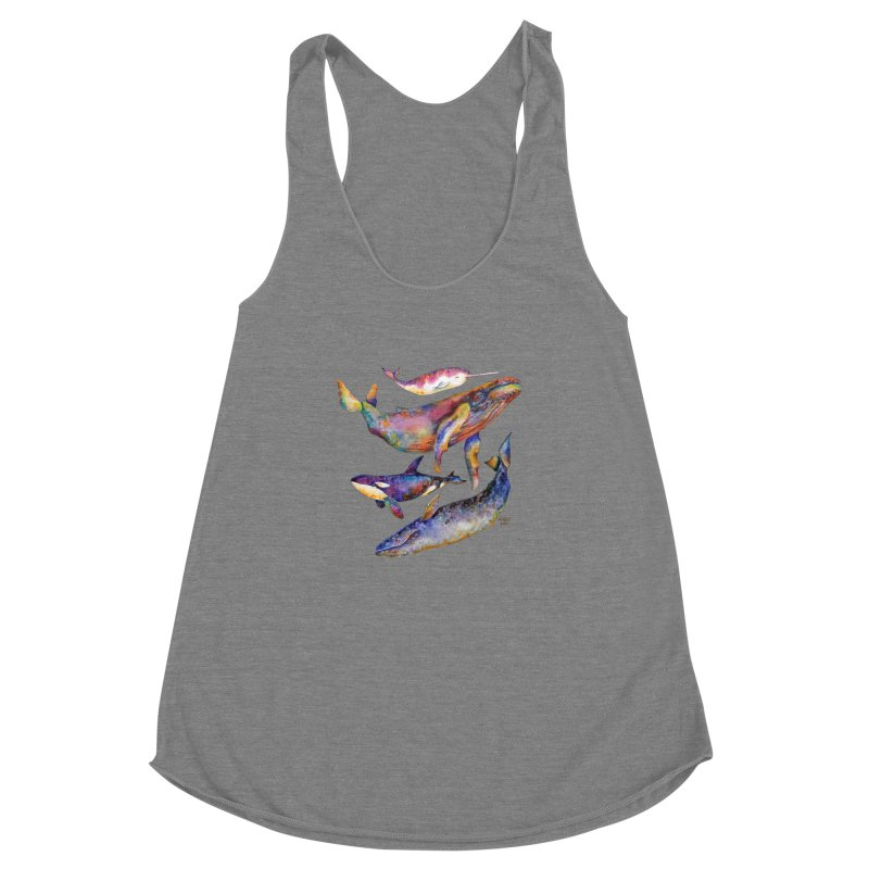 Four Whale Pyramid Women's Racerback Triblend Tank by dotsofpaint threads