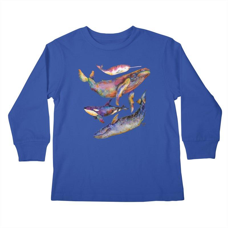 Four Whale Pyramid Kids Longsleeve T-Shirt by dotsofpaint threads
