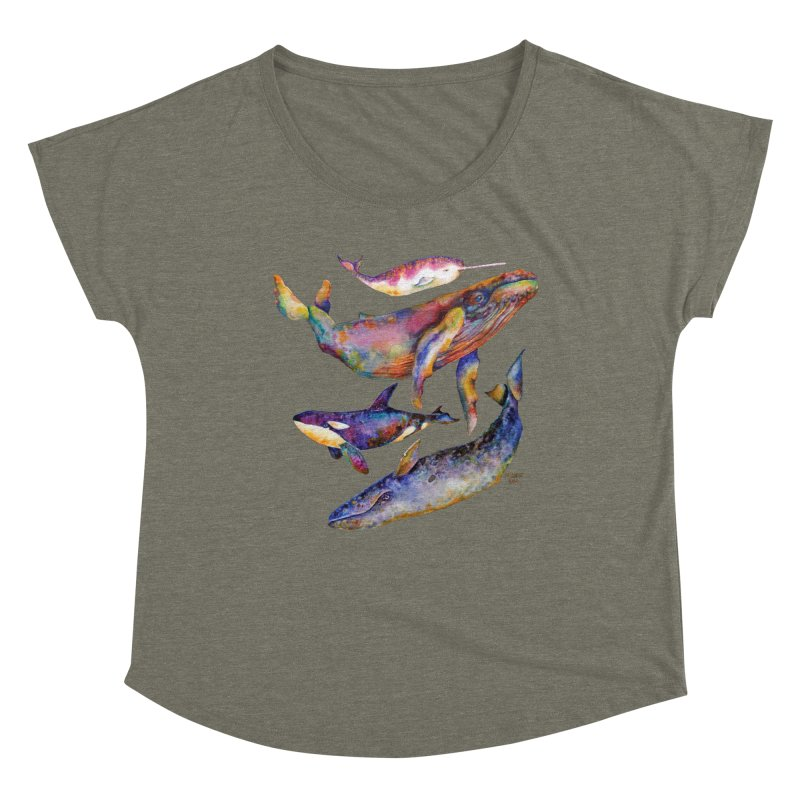 Four Whale Pyramid Women's Scoop Neck by dotsofpaint threads