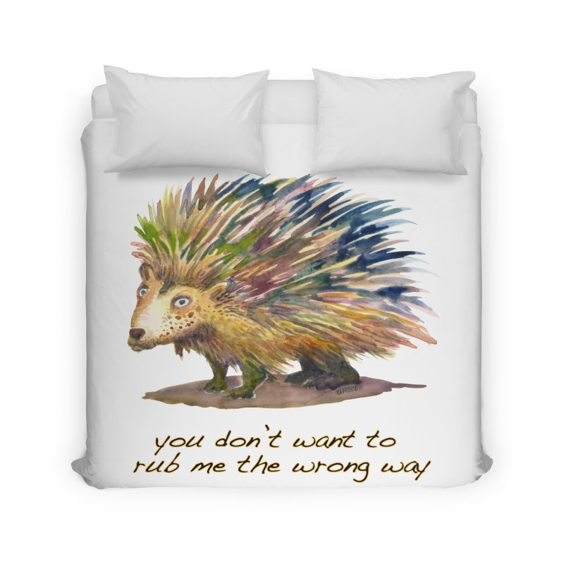 You don't want to rub me the wrong way Home Duvet by dotsofpaint threads