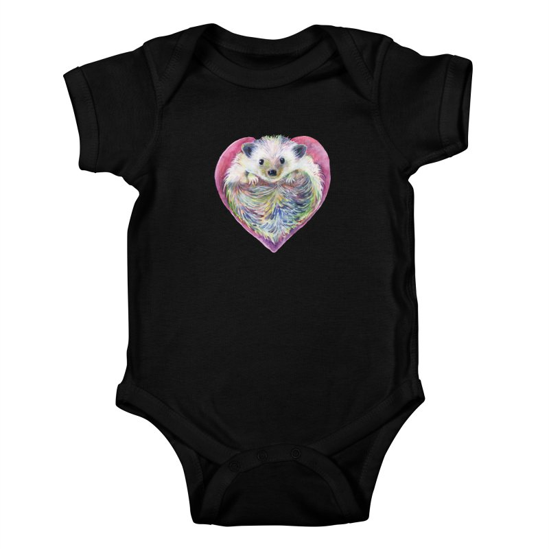 HedgeHog Heart by Michelle Scott of Dotsofpaint Studios Kids Baby Bodysuit by dotsofpaint threads