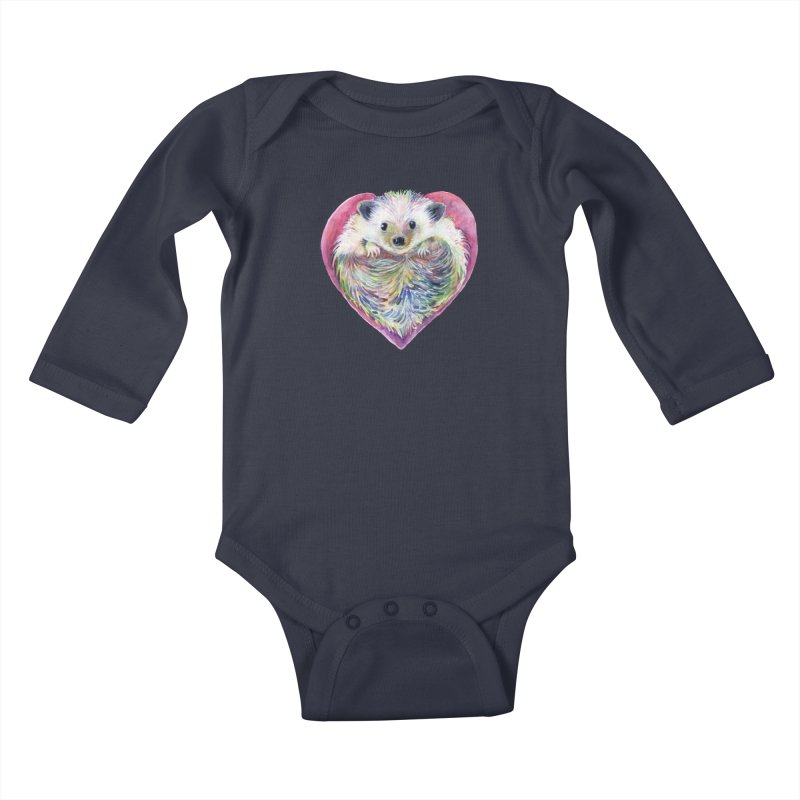 HedgeHog Heart by Michelle Scott of Dotsofpaint Studios Kids Baby Longsleeve Bodysuit by dotsofpaint threads