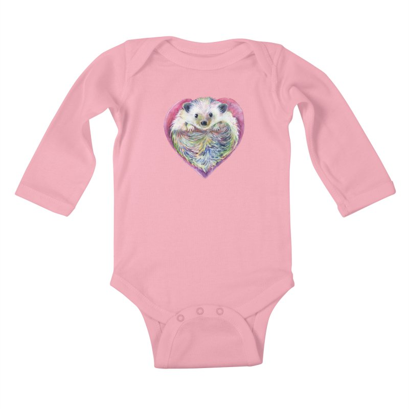 HedgeHog Heart by Michelle Scott of Dotsofpaint Studios Kids Baby Longsleeve Bodysuit by dotsofpaint threads