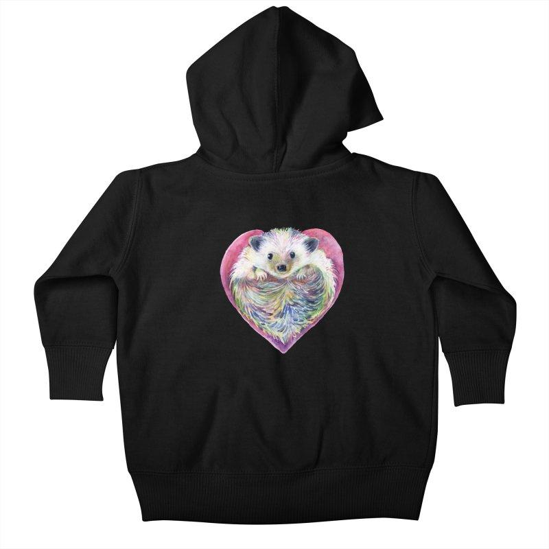 HedgeHog Heart by Michelle Scott of Dotsofpaint Studios Kids Baby Zip-Up Hoody by dotsofpaint threads