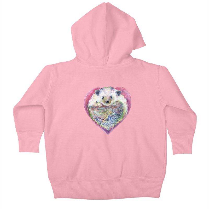 HedgeHog Heart by Michelle Scott of Dotsofpaint Studios Kids Baby Zip-Up Hoody by dotsofpaint threads