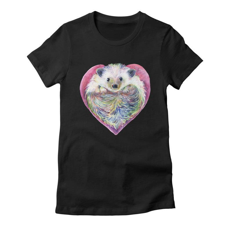 HedgeHog Heart by Michelle Scott of Dotsofpaint Studios Women's Fitted T-Shirt by dotsofpaint threads