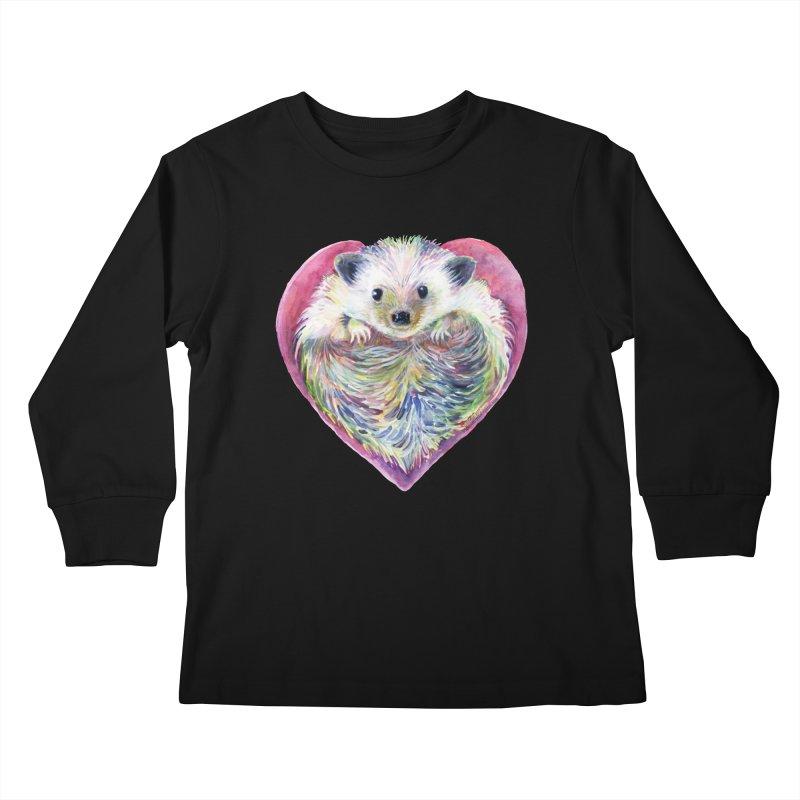 HedgeHog Heart by Michelle Scott of Dotsofpaint Studios Kids Longsleeve T-Shirt by dotsofpaint threads
