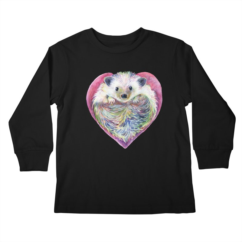 HedgeHog Heart by Michelle Scott of Dotsofpaint Studios Kids Longsleeve T-Shirt by dotsofpaint threads