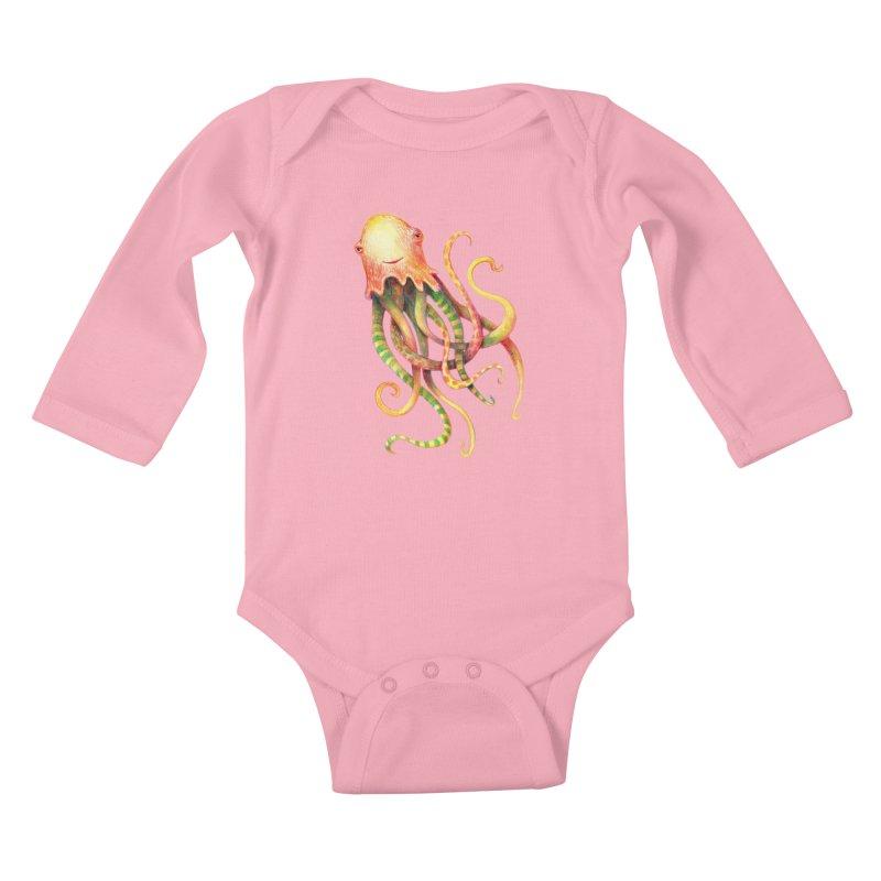 Octopus 2018 Kids Baby Longsleeve Bodysuit by dotsofpaint threads