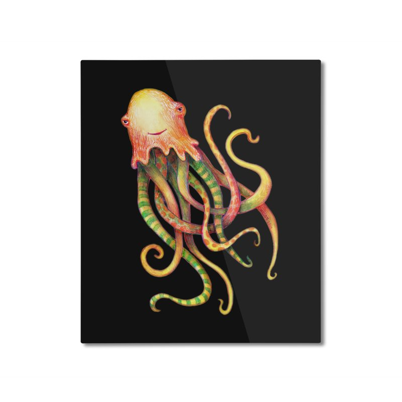 Octopus 2018 Home Mounted Aluminum Print by dotsofpaint threads