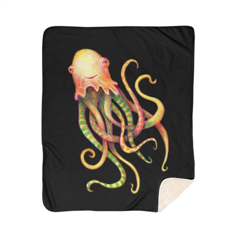 Octopus 2018 Home Sherpa Blanket Blanket by dotsofpaint threads