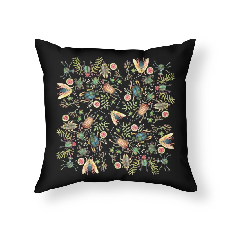 Bugs Galore Home Throw Pillow by dotsofpaint threads