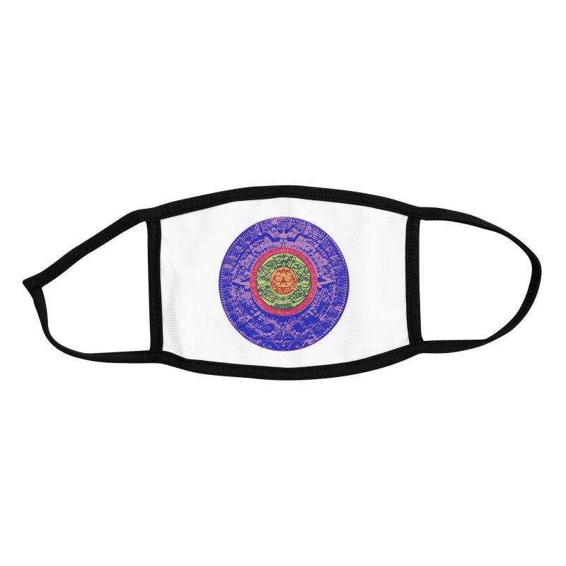 Aztec Sun Calendar in Color Accessories Face Mask by Dover Design Works' Artist Shop
