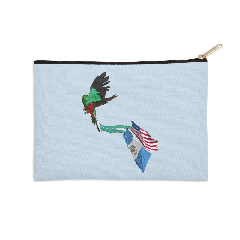 Guatemalan Bird with US and Guatemala Flags Accessories Zip Pouch by Dover Design Works' Artist Shop
