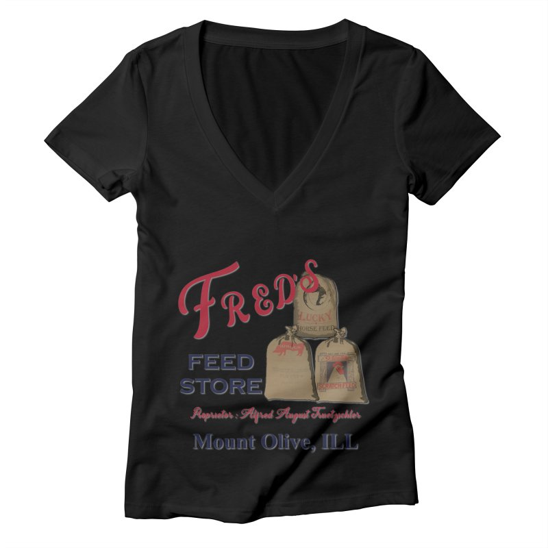 Fred's Feed Store Women's V-Neck by Dover Design Works' Artist Shop
