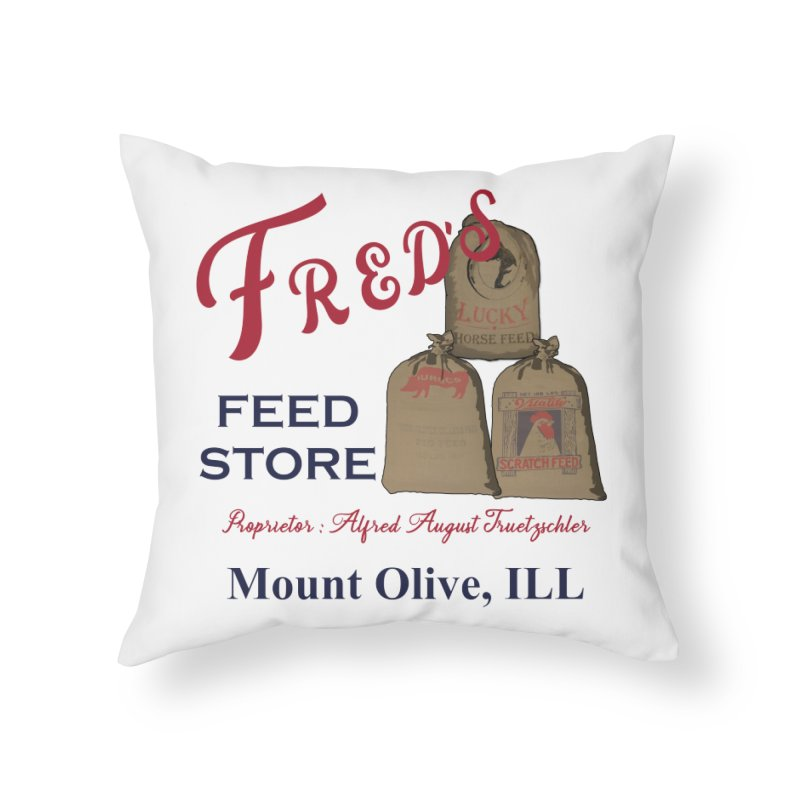 Fred's Feed Store Home Throw Pillow by Dover Design Works' Artist Shop