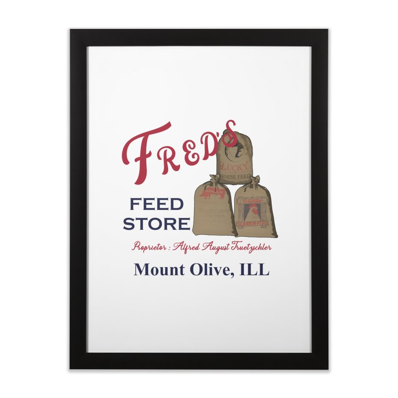 Fred's Feed Store Home Framed Fine Art Print by Dover Design Works' Artist Shop