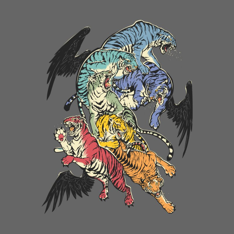 Seven caged tigers Men's T-shirt by dracoimagem's Artist Shop