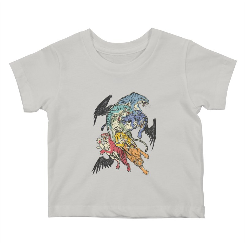 Seven caged tigers Kids Baby T-Shirt by dracoimagem's Artist Shop
