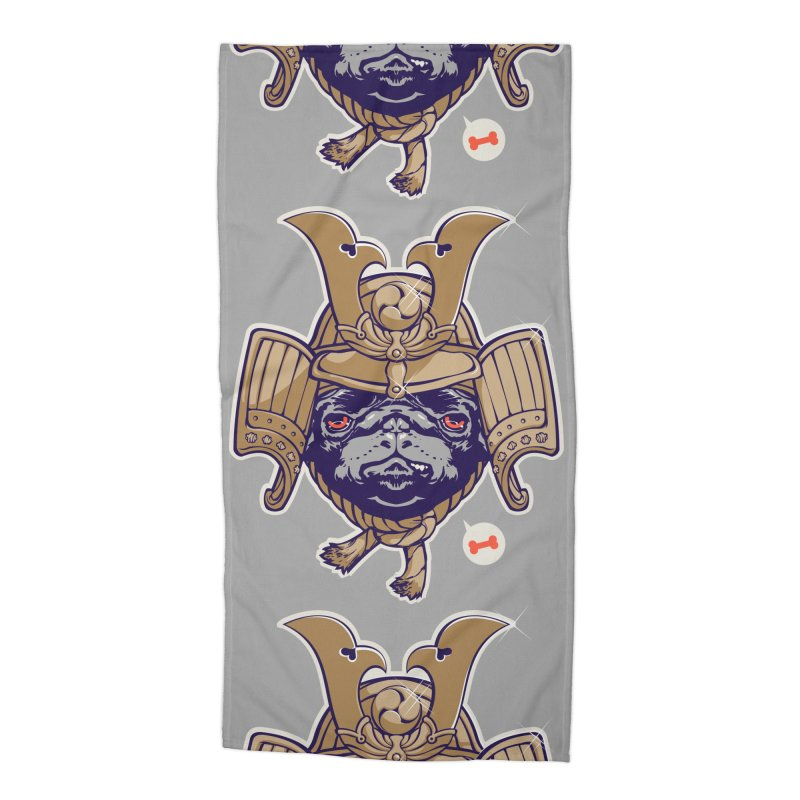 Samurai PUG Accessories Beach Towel by dracoimagem's Artist Shop
