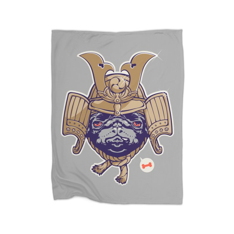 Samurai PUG Home Blanket by dracoimagem's Artist Shop