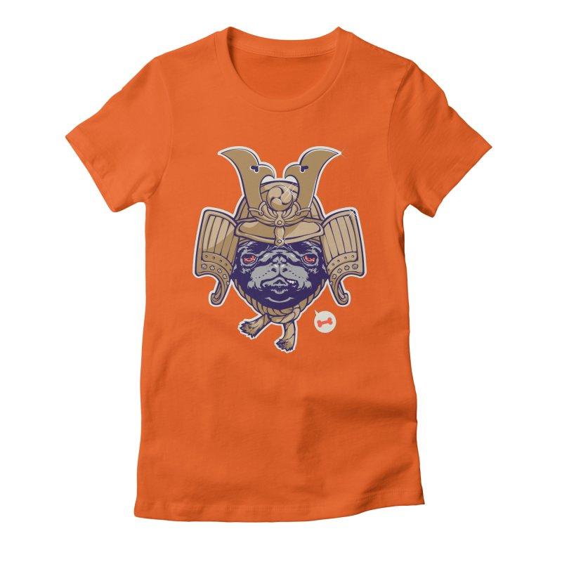 Samurai PUG Women's Fitted T-Shirt by dracoimagem's Artist Shop