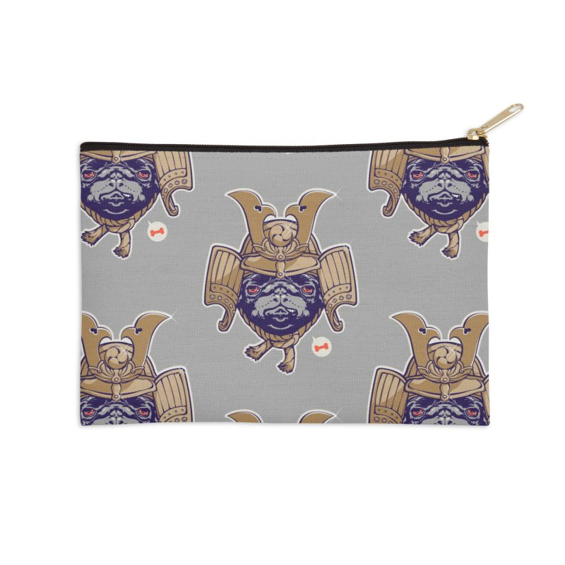 Samurai PUG Accessories Zip Pouch by dracoimagem's Artist Shop