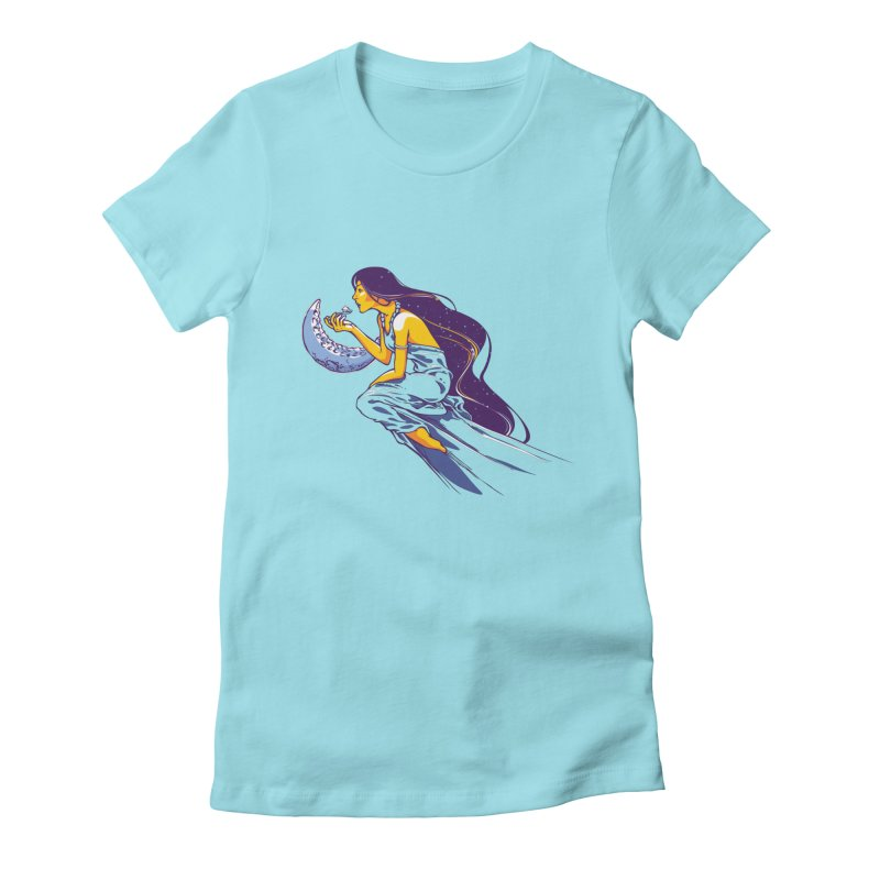 Eating the moon Women's Fitted T-Shirt by dracoimagem's Artist Shop