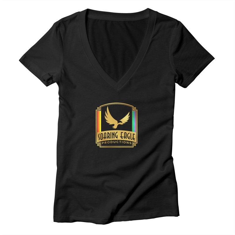 Soaring Eagle Productions (Centered) Women's V-Neck by Drake Jensen's Artist Shop