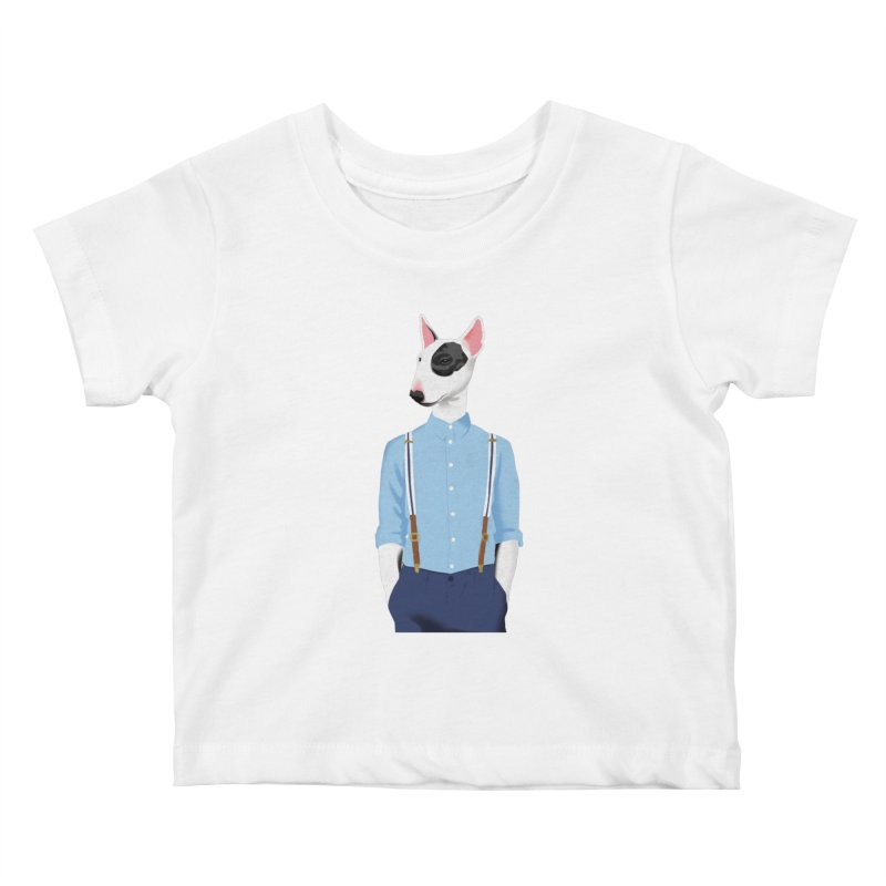 Skinhead Bull Terrier Kids Baby T-Shirt by drawgood's Shop
