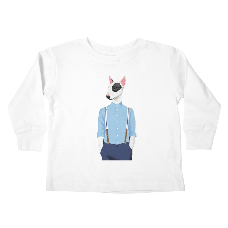 Skinhead Bull Terrier Kids Toddler Longsleeve T-Shirt by drawgood's Shop